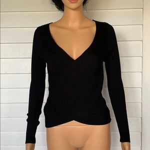 Black v cut sweater